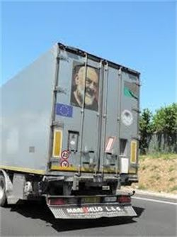 Truck with Padre Pio image that can be seen on the highways in Italy.  Pray, Hope and Don't Worry is the message of St. Padre Pio.